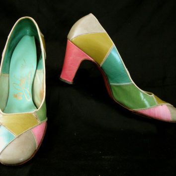 Vintage 60s  MOD Patchwork Shoes Pastel  Colors Johansen  5.5B