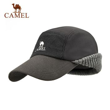 CAMEL Unisex Winter Hiking Hat Wool Thickened Baseball Cap Thermal Windproof Waterproof Outdoor Sport Keep Ear Warm Climbing Hat