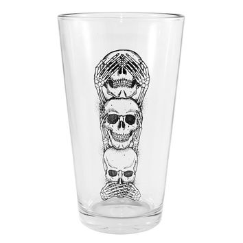 """No Evil"" Pint Glass by Inked"