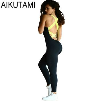 Summer Yoga Set Elastic Bandage Cross Back Sports Jumpsuits Sleeveless Woman Yoga Romper Sport Wear Women Fitness Gym Clothes