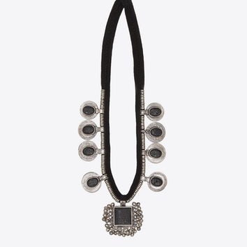 Patti Necklace in Old Silver-Toned Brass, Black Cotton and Lava Rocks