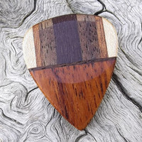 Multi-Wood Guitar Pick - Premium Quality - Handmade - Actual Pick Shown - Artisan Guitar Pick - Made With 5 Different Woods