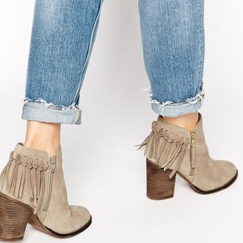 ALDO Casalnuoyo Taupe Leather Heeled Ankle Boots