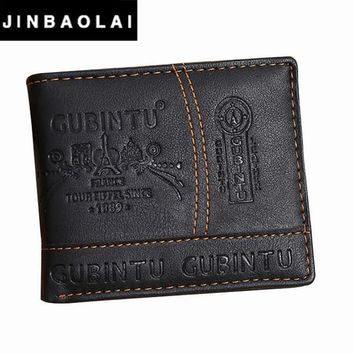 JINBAOLAI Brand Leather Wallet 2016 Men Wallet Men's Short Purse Men Bags Coin Wallets Clip Cowhide