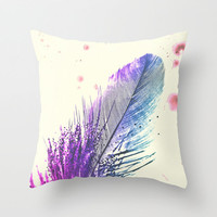 *** Feather Splash *** Throw Pillow by M✿nika  Strigel