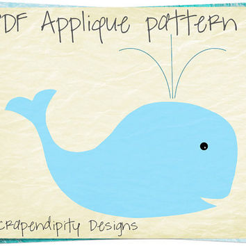 Whale Applique Pattern - Animal Applique Template / Toddler Whale Shirt / Kids Girls Clothing Tops / Ocean Quilt Pattern / Printable AP194