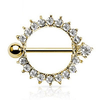 New Hot Gemmed Sunburst Nipple Shield Ring Bar Barbell Piercing Jewelry Gold