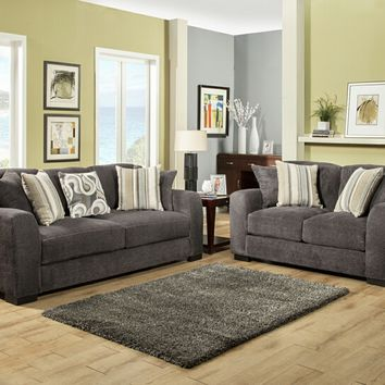 Benchley Wesley S/L Smoke 2 pc wesley collection smoke color fabric upholstered sofa and love seat with rounded arms