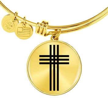 Stylized Cross - 18k Gold Finished Bangle Bracelet