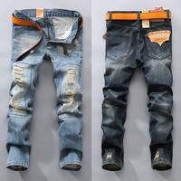 Pants Ripped Holes Fashion Jeans [6541771587]