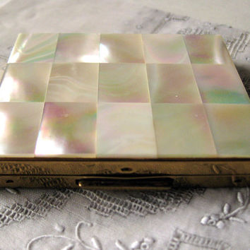 Vintage Powder Compact Mother of Pearl Checkerboard Lid / Vanity Accessory / Purse Accessory