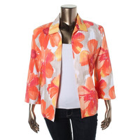 Alfred Dunner Womens Plus Open Front Floral Print Casual Blazer
