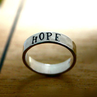 HOPE - customized Sterling silver hand stamped ring - stacking name ring