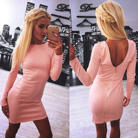 Sexy Backless zipper Long sleeve Dress