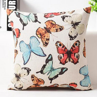 Factory Supply American Style Countryside Ink Flower And Bird Parrot Butterfly Printing Linen Decorative Pillow Cushion