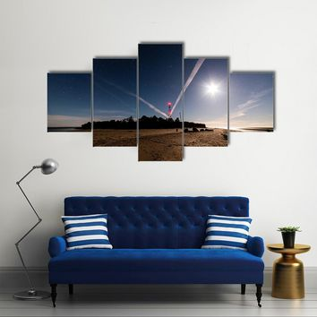 A Silhouette Of Trees And Cloud Line With Milky Way Reflecting From The Sky Multi Panel Canvas Wall Art Set