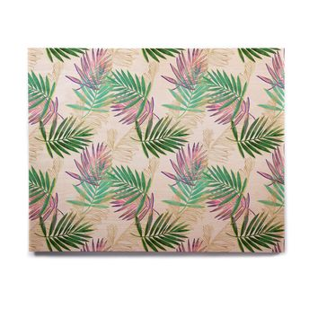 "mmartabc ""Palm Leaf Colorful And Gold"" Gold Multicolor Nature Pattern Illustration Digital Birchwood Wall Art"
