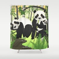 Panda Family Shower Curtain by Azure Avenue