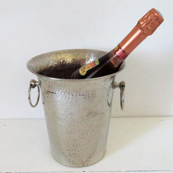 Vintage French, Hammered Metal, Wine, Champagne Cooler, Bucket
