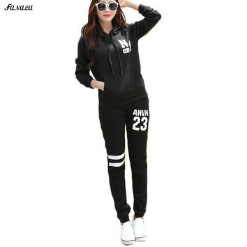 Fanala Women Sweatshirt and Pants Set 2 Piece Winter Sweatshirts Hoodies Set Tracksuit Women Print Women Hoodies Suit Sportwear