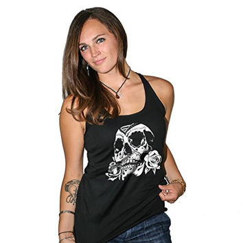 Women's Fifty5 Clothing Day of The Dead Rose Skull Racerback Tank Top Black