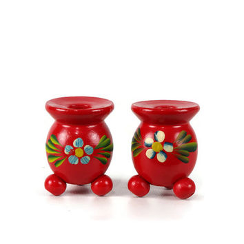 Swedish Candle Holder, Red Wooden Candleholder, Folk Art, Set of Two