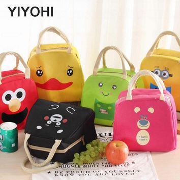 YIYOHI Cartoon Animal Portable Insulated Nylon Lunch Bag Thermal Food Picnic Lunch Bags For Women Kids Cooler Lunch Box Bag Tote