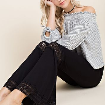 Knit Bell Bottom Pants with Lace Inserts - Black