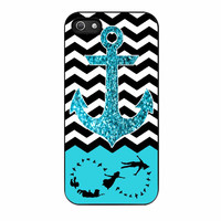 Peter Pan Mint Glitter Anchor Black Chevron iPhone 5 Case