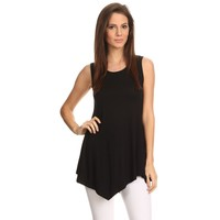 Black Round Neck Sleeveless Tunic Top