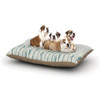 "Emma Frances ""Dainty Shoots"" Gray Teal Dog Bed"