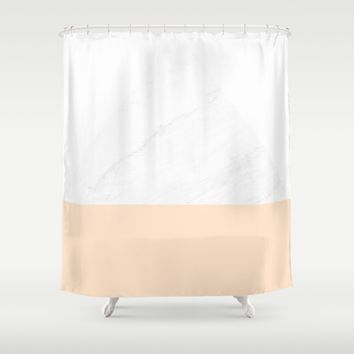 Marble Peach Geometry Shower Curtain by ARTbyJWP