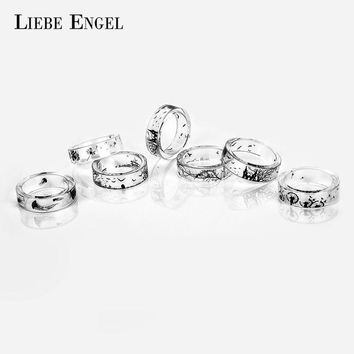 LIEBE ENGEL Ink Painting Resin Ring For Women Handmade Jellyfish Dandelion Tree Rings Finger Ring For Man Vintage Punk Jewelry