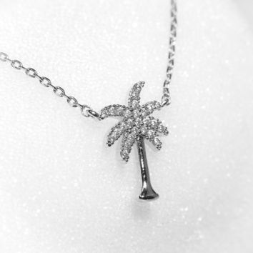 Dainty Crystal Palm Tree Necklace in Silver and Gold