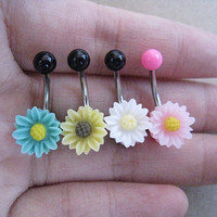 Beatiful Daisy Flower Belly Button Ring, Belly Ring,