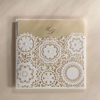 Laser Cut Wedding Invitation Cards Elegant Paper Party Invitations Card with Pearl Birthday Cards CW5191