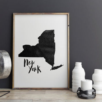 "PRINTABLE art""NEW YORK""State Wall Decor,Typographyc Art,City Print,Watercolor Poster,Map Print,Travel Poster,Instant Download,Home Decor"