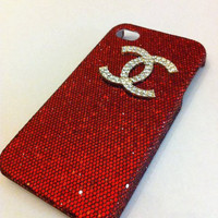red glitter iphone 4 case with gold rhinestone Chanel logo by GlitterLovers