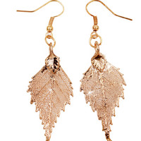 Real Leaf Hook Drop EARRINGS BIRCH Leaf Dipped in Rose Gold