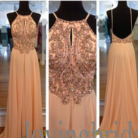Long Shinning Crystal Prom Dresses Sexy Open Back Prom Dresses Long A line Chiffon Party Dresses Homecoming Dresses 2014 New Fashion