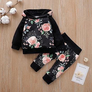 0-24M New Autumn winter Floral Clothes Set Hooded Hoodie Top + Pants for Newborn Baby Toddler 2pcs/set 2019 baby girl clothes