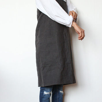Linen Pinafore Apron/ Square-Cross Apron/ no-ties apron/Japanese apron