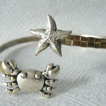 crab bracelet with a shell. wrap crab jewelery. nautical bracelet