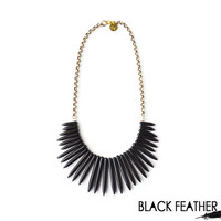Black Bib Spike Necklace and Chain