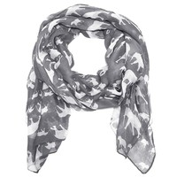 Mama and Baby Elephant Scarf in Gray and White