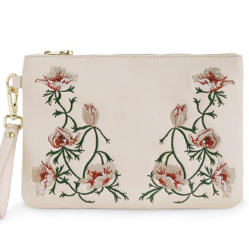 2017 New Baby Pink Floral Flower Lady Flap Embroidery Fresh Mori Forest Faux Leather PU Women's Shoulder Messenger Crossbody Bag