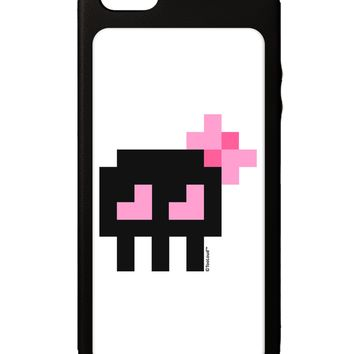 Retro 8-Bit Skull with Pink Bow iPhone 5C Grip Case  by TooLoud