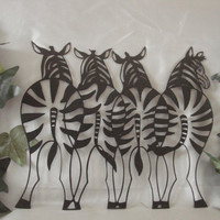 Standing Zebras 16 Gauge Black Matte Metal Wall Art