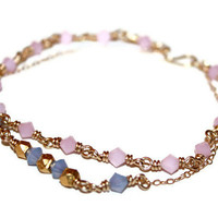 SIMPLY SWEETHEART BRACELET / wire-wrapped bracelet ft. opal pink and periwinkle swarovski crystals, handmade clasp, 14 k gold chain & wire