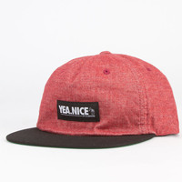 Yea.Nice Low Key Mens Snapback Hat Red One Size For Men 23089530001